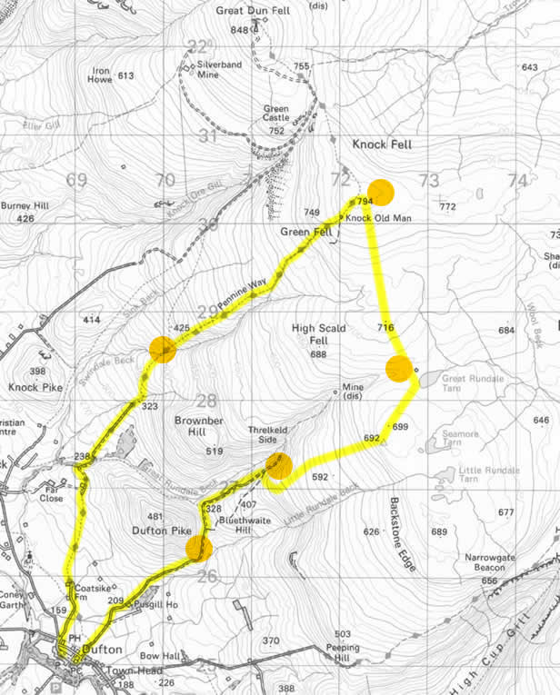 Route map of a walk from Dufton in the Pennines to Knock Fell.  The route takes us to Great Rundale Tarn across High Scald Fell to Knock Old Man and we return on the Pennine Way route back to Dufton.