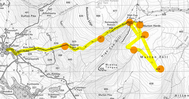 A walk from Dufton to High Cup Nick and Murton Fell Route Map