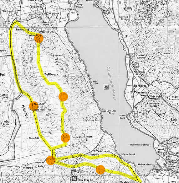 Route map of walk from Buttermere to Mellbreak