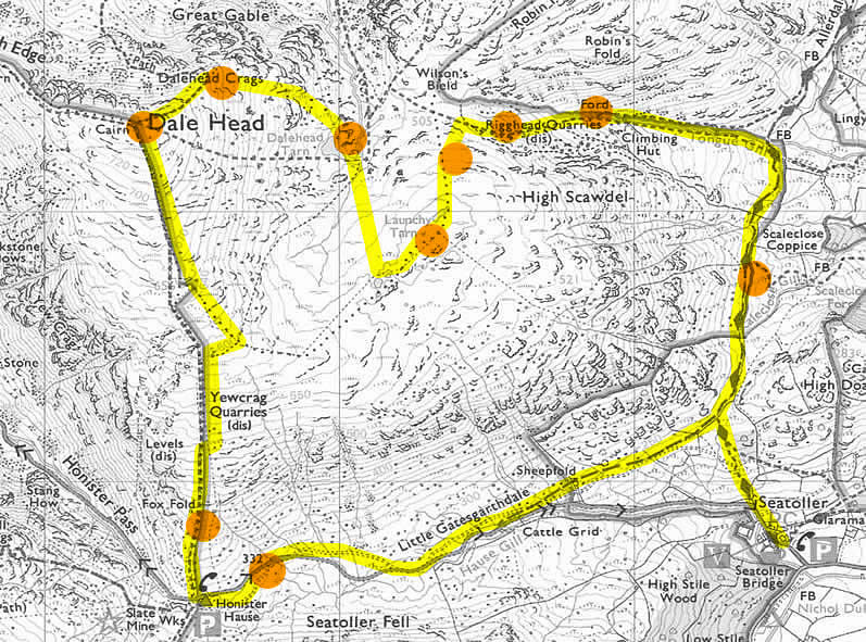 Route map of walk from Seatoller to Dale Head, Dale Head Tarn, Launchy Tarn returning via Rigghead Quarries